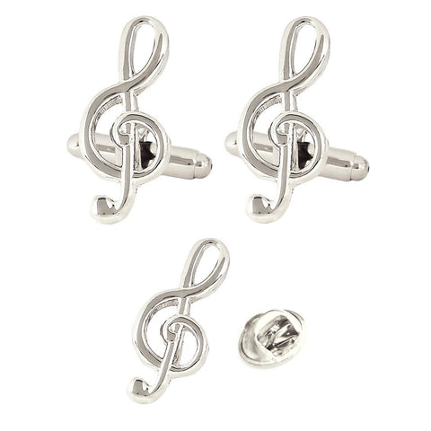 Silver Symbol of Musi Cufflink and Lapel Pin Set