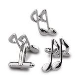 The Musical Note Cufflink and lapel Pin Set