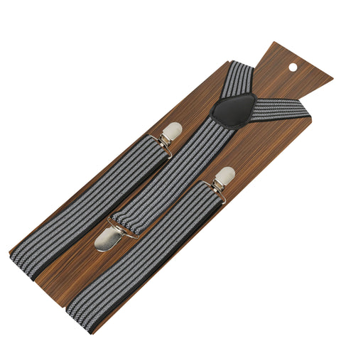 Sharp Striped Black Coloured 3.5cm strap width suspender for men | Genuine Branded Product Elastic