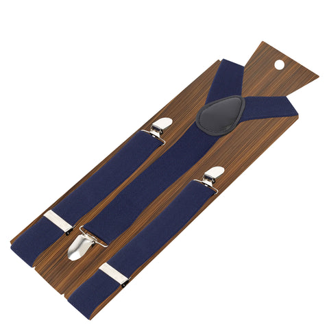 Back to Basic - 3.5cm Navy Blue Coloured 3.5cm strap width suspender for men | Genuine Branded Product Elastic
