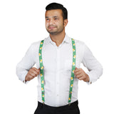 Bright Beer Mugs Green and Yellow Colored Elastic Suspenders for Men