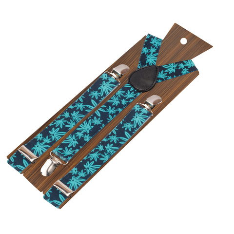 Weed Style Navy Blue and Turquoise Colored Elastic Suspenders for Men | Genuine Branded Product from Peluche.in