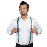 Weed Style Navy Blue and Turquoise Colored Elastic Suspenders for Men