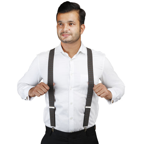 Dotted Fashion Black, White and Brown Colored Elastic Suspenders for Men | Genuine Branded Product from Peluche.in