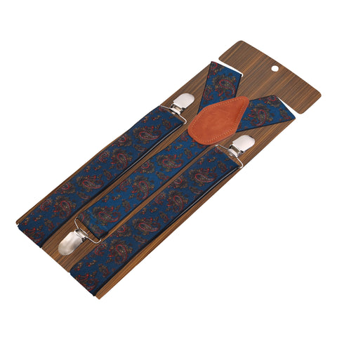 Floral Cut Blue Coloured 3cm Strap Width Suspender For Men | Genuine Branded Product Elastic