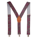 Floral Cut Red Coloured Suspender For Men