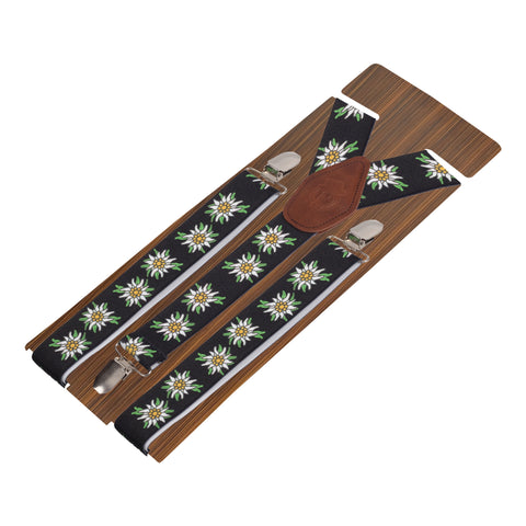 Floral Bliss Black Coloured 3cm Strap Width Suspender For Men | Genuine Branded Product Elastic