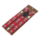 Floral Fun Red Coloured 3cm Strap Width Suspender For Men | Genuine Branded Product Elastic