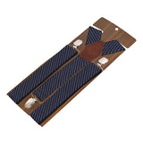Eloquent Stripes Blue Coloured 3cm Strap Width Suspender For Men | Genuine Branded Product Elastic