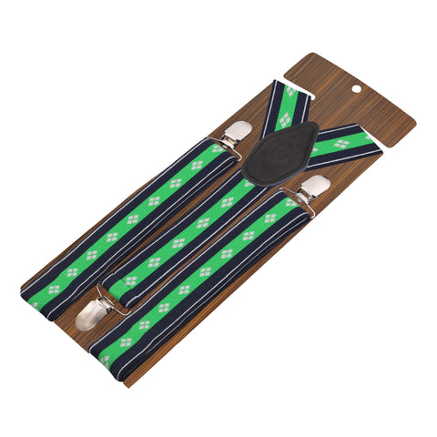 Flawless Green Coloured 3cm Strap Width Suspender For Men | Genuine Branded Product Elastic