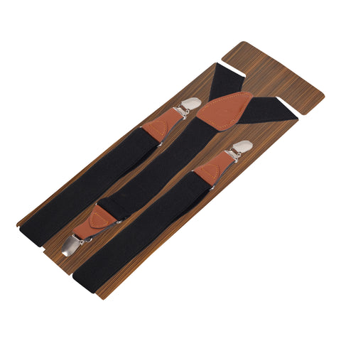 Solid Black Coloured Suspender For Men