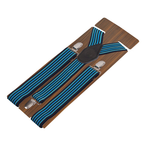Flemish Stripes Blue Coloured 3cm Strap Width Suspender For Men | Genuine Branded Product Elastic
