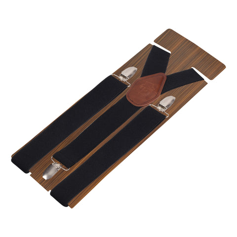 Plaid Black Black Coloured 3cm Strap Width Suspender For Men | Genuine Branded Product Elastic