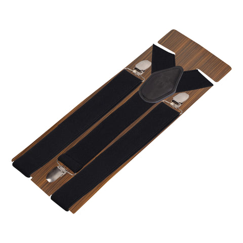 Plaid Black Coloured Suspender For Men