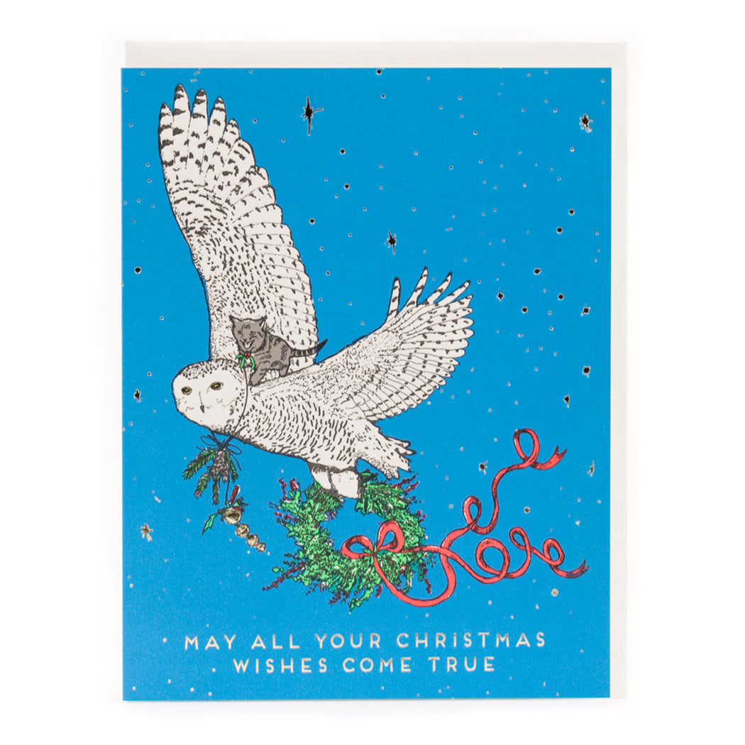 Card: Christmas Wishes Owl and Kitty