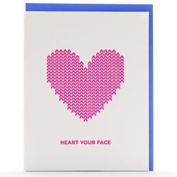 Card: Knit Heart Face* Neon