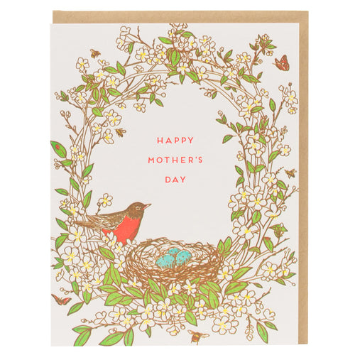 Card: Mother's Day Robin Bird Nest