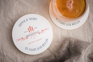 Porchlight Press Copper Theory Letterpress Coaster