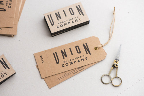 Porchlight Press Union Wood Letterpress Tag