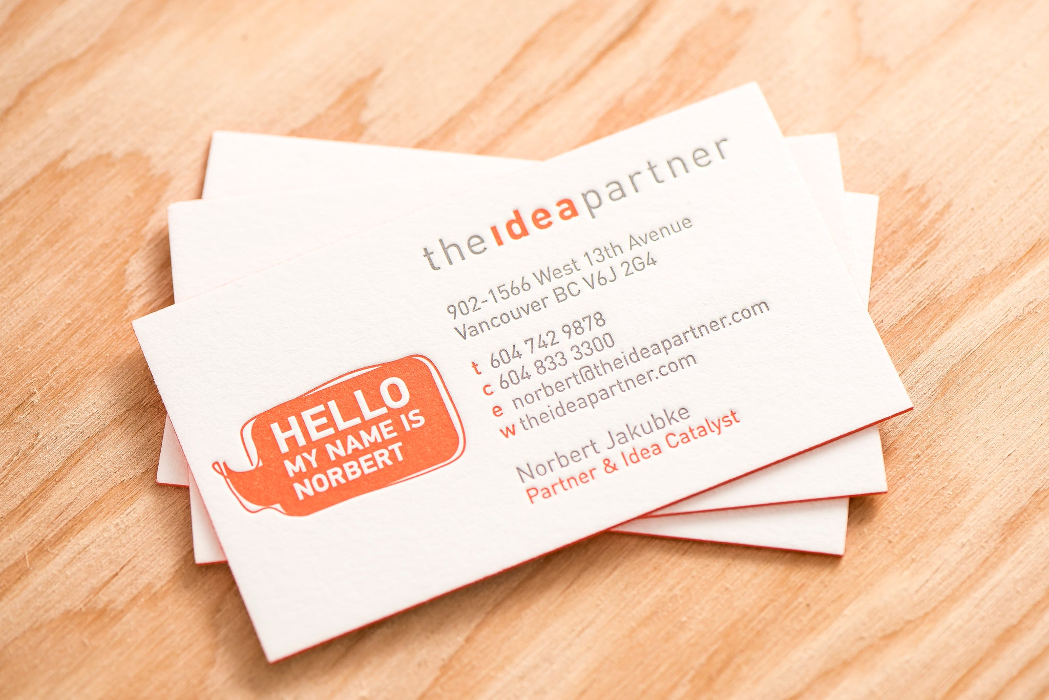 Portfolio business cards the idea partner porchlight press ltd porchlight press the idea partner letterpress business card reheart Gallery
