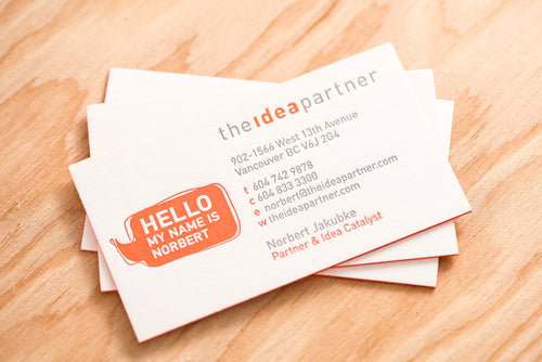 Porchlight Press The Idea Partner Letterpress Business Card