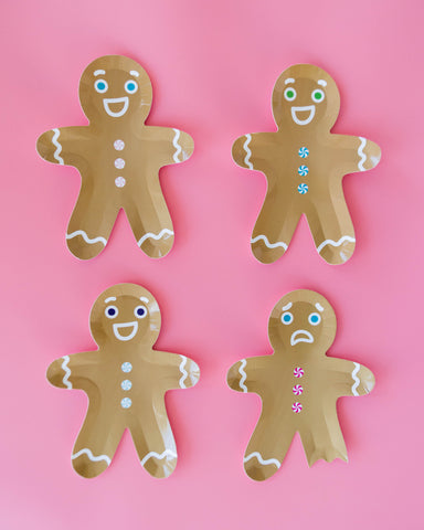 gingerbread man party plates, holiday party supplies, cookie decorating party