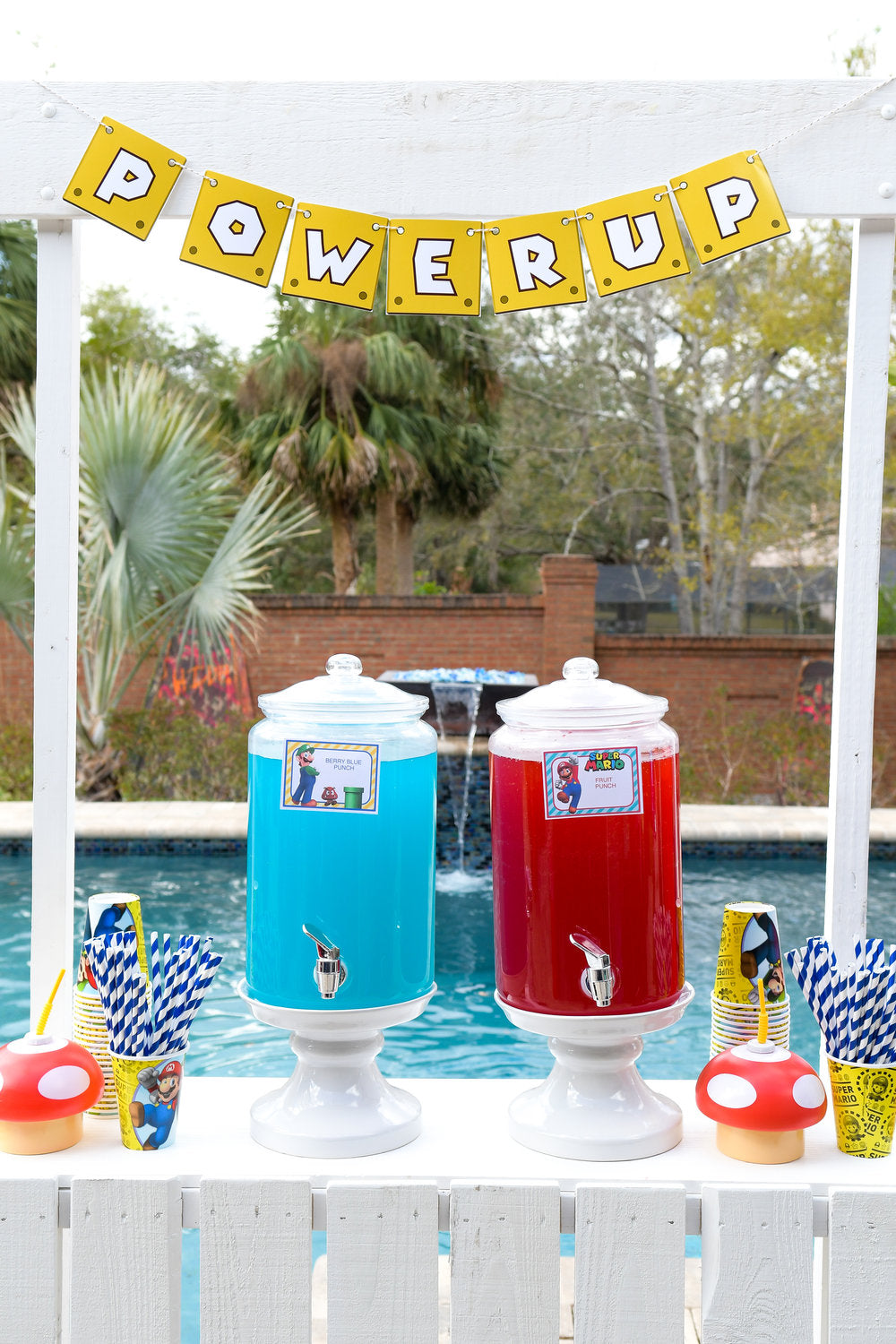 Drink refreshments table with red and blue punch