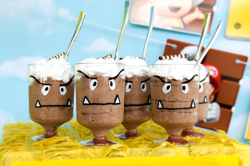 Closeup photo of Goomba dessert cups