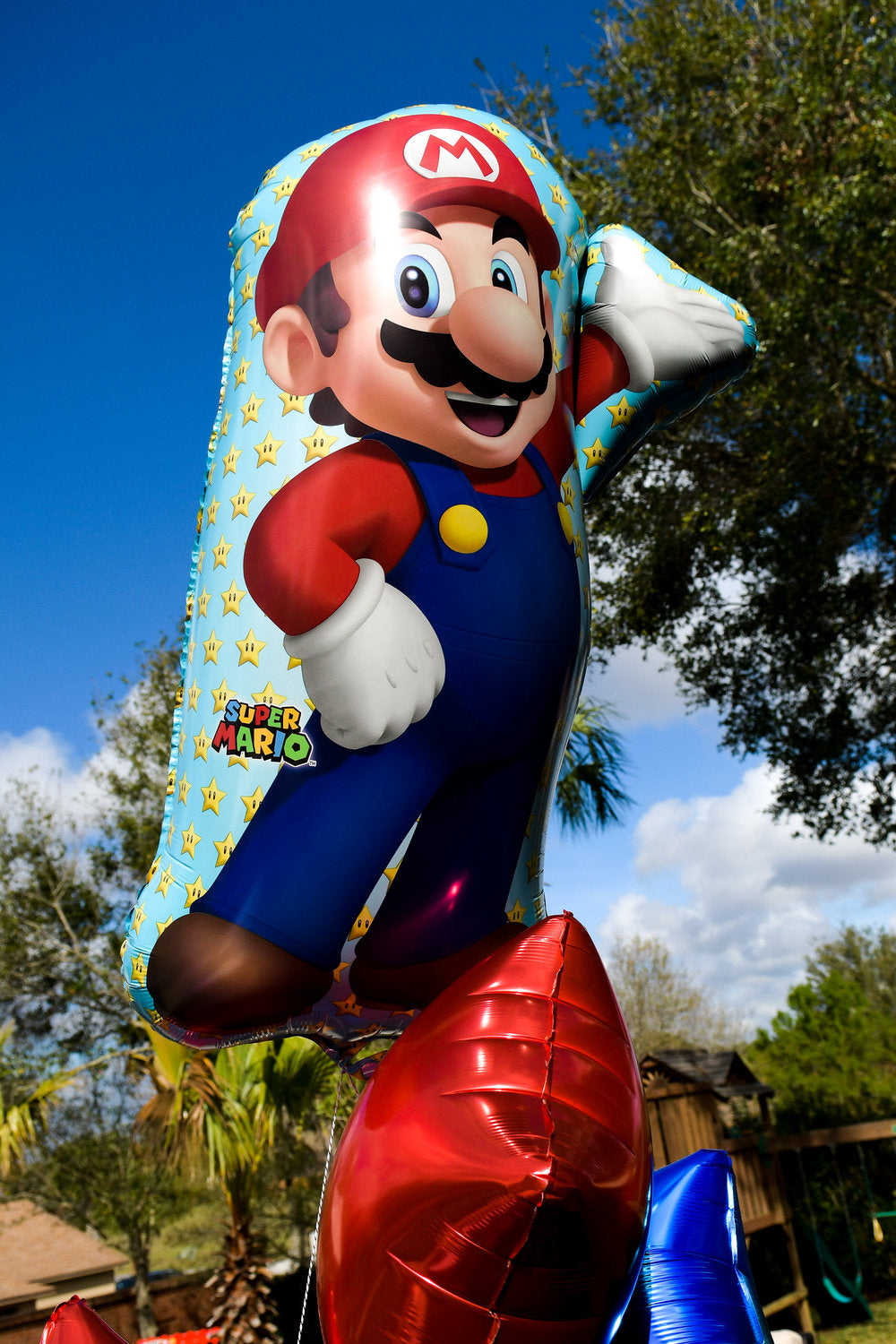 Closeup photo of Mario balloon