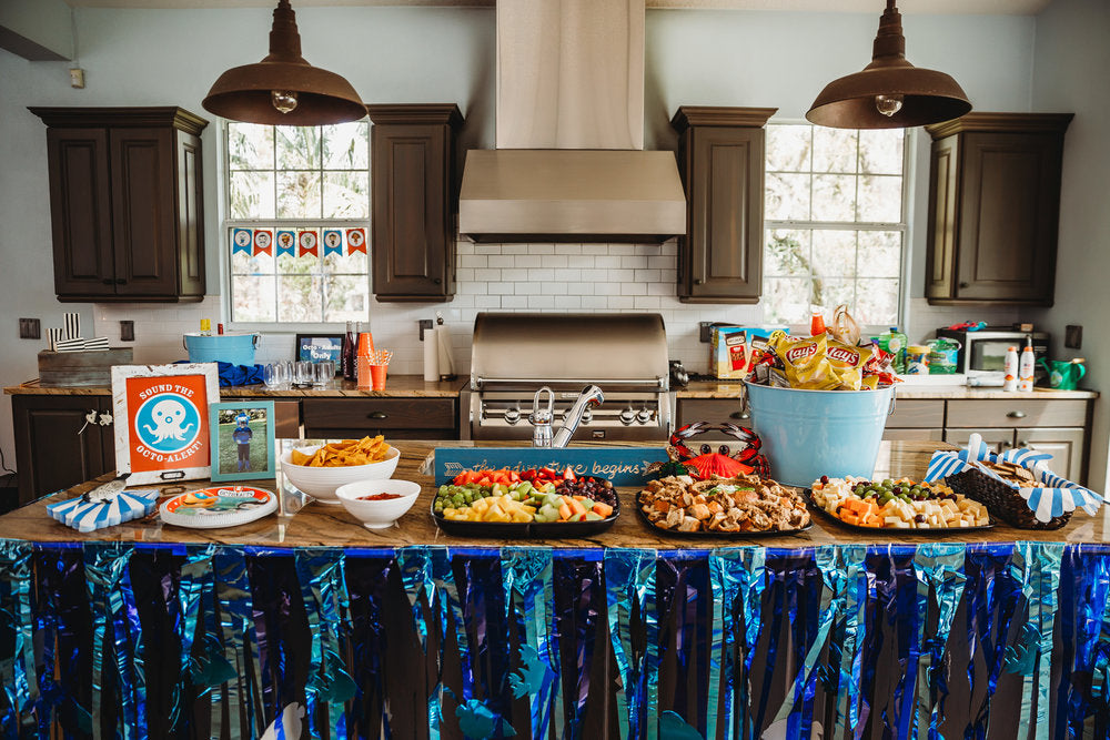 Image of a kitchen with a snack table decorated in underwater theme