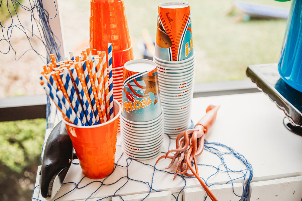 Closeup photo of Octonauts cups and paper straws