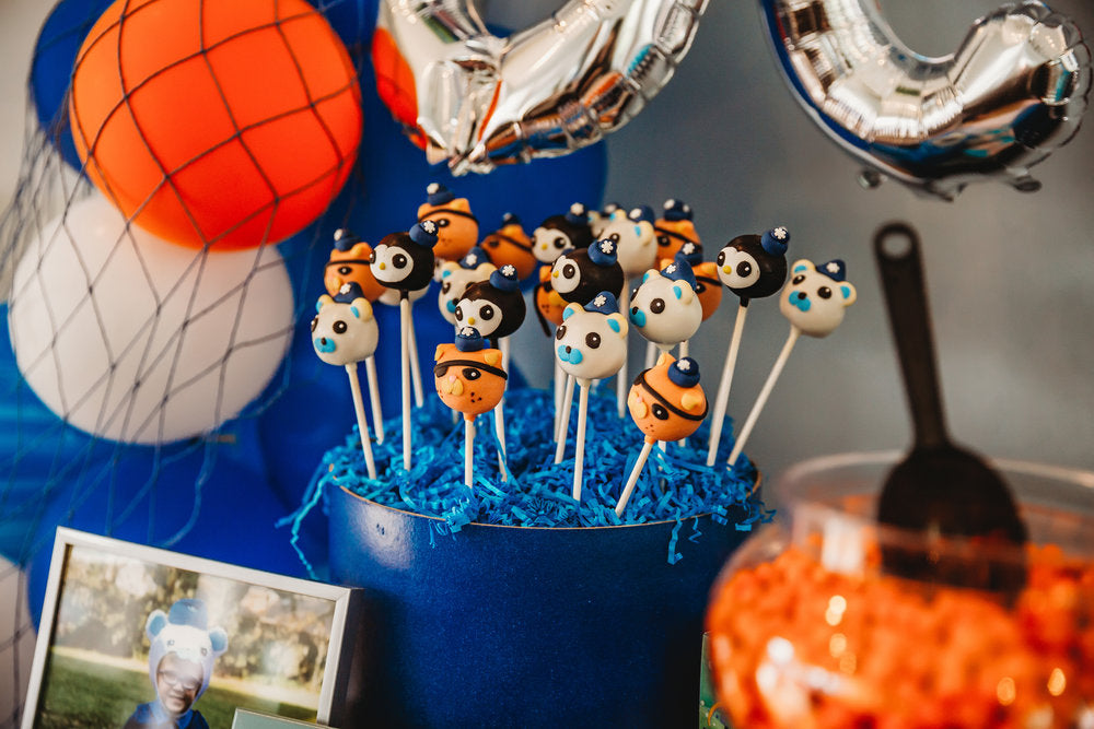 Closeup of Octonauts cake pops