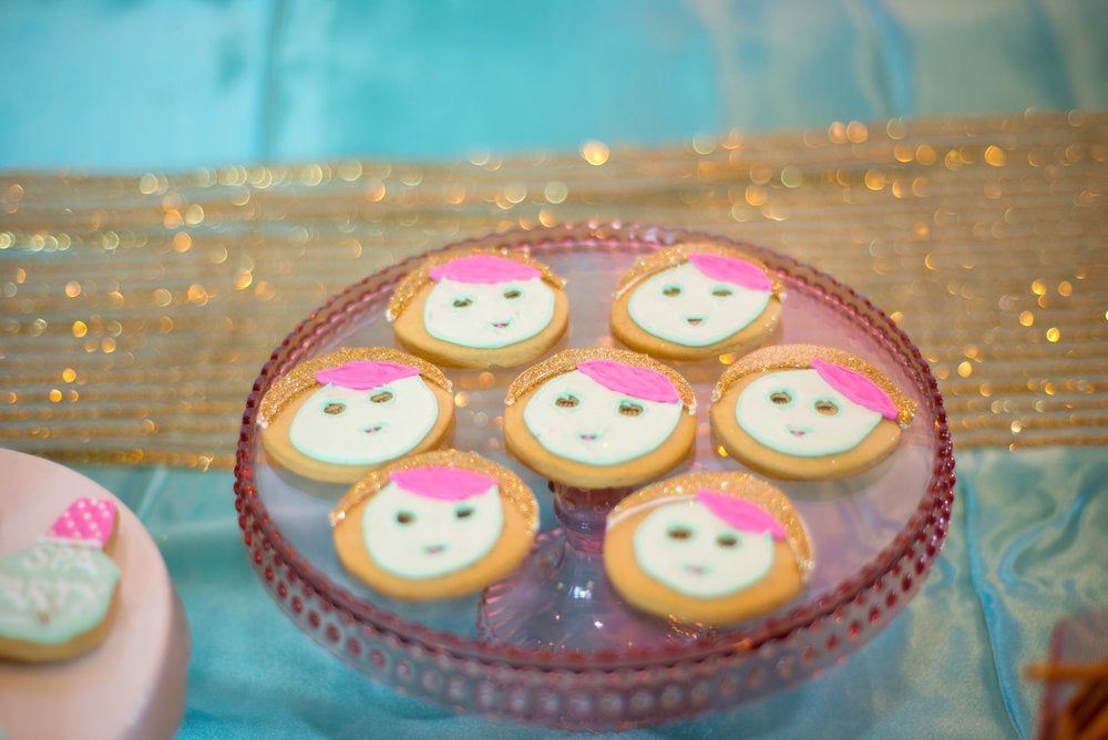 Tray of decorated cookies in line with the spa theme