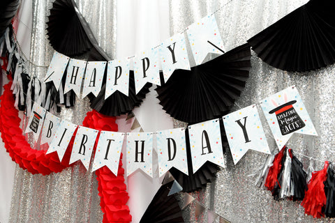 magic themed birthday party decorations, magic happy birthday banner