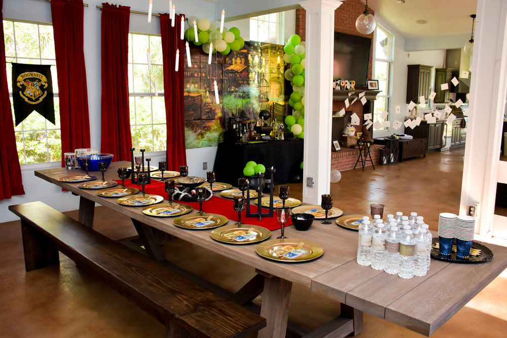 Overall room photo with Harry Potter birthday party decorations