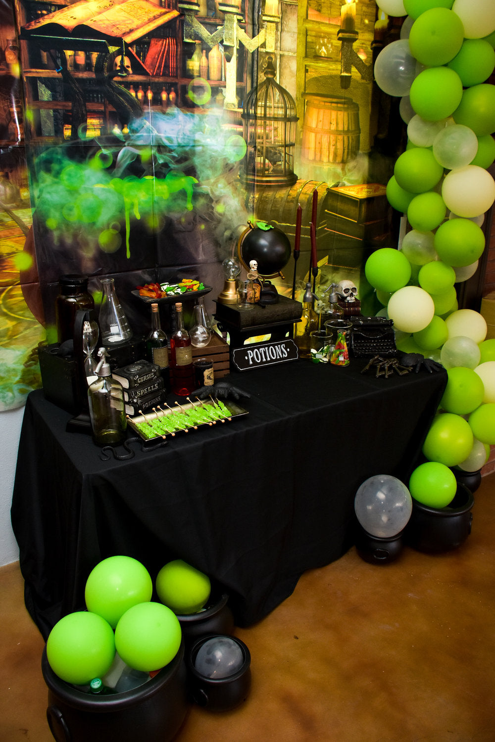Harry Potter themed birthday party potions table