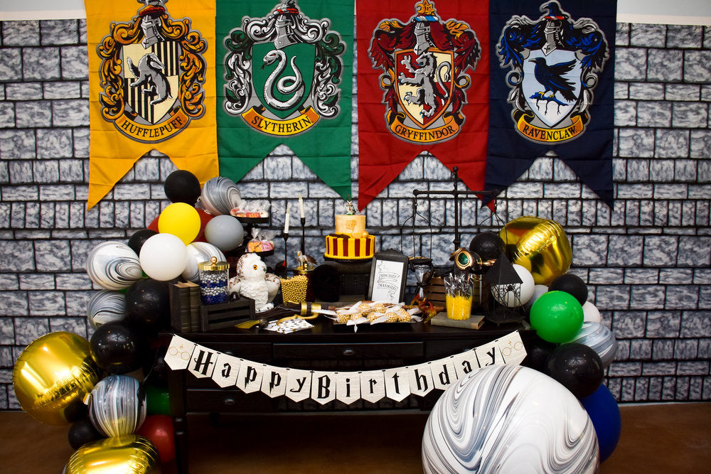 Harry Potter decorated wall and birthday table spread