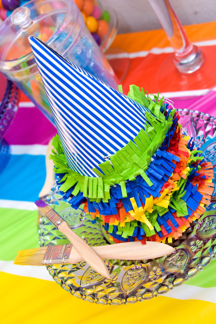Colorful blue & white striped party hats