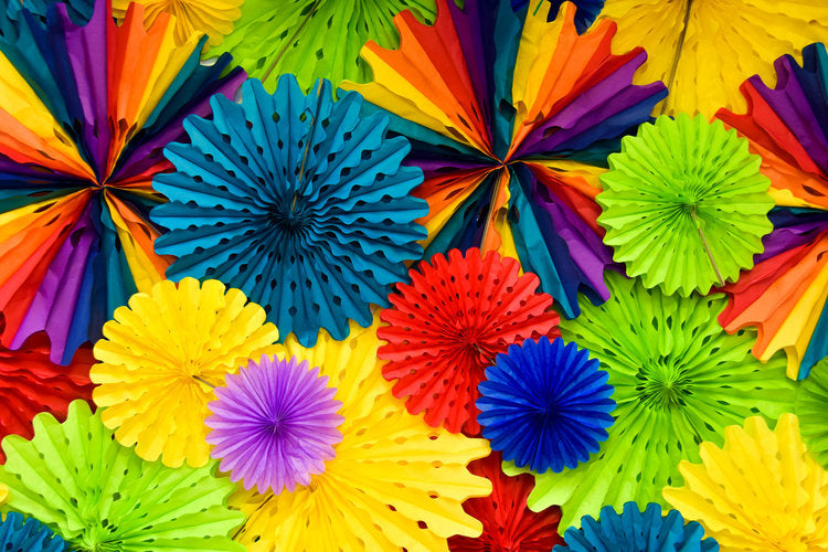 Colorful paper pinwheel decorations in all colors