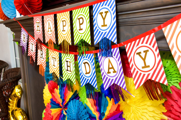 "Colorful striped ""Happy birthday"" paper garland banner"
