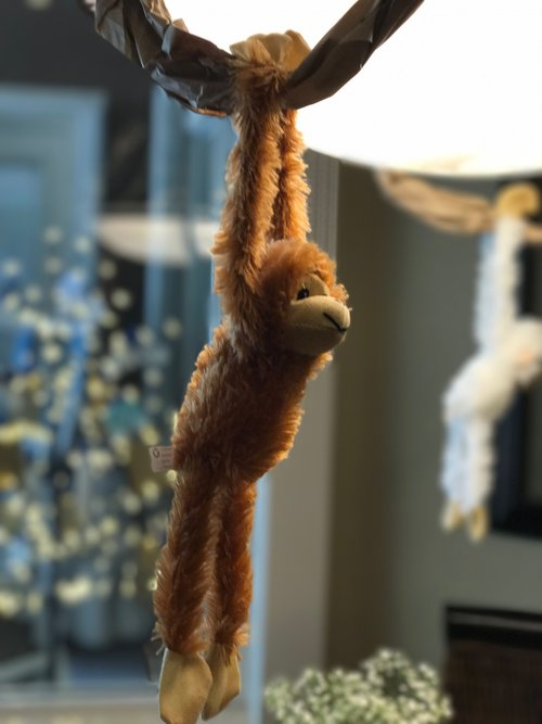 Monkey stuffed animal hanging from craft paper 'vine'