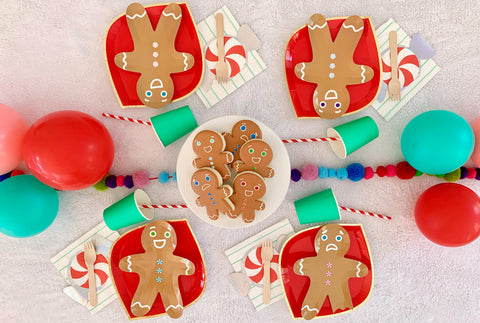 holiday party supplies, gingerbread man cookie party, red and green party supplies