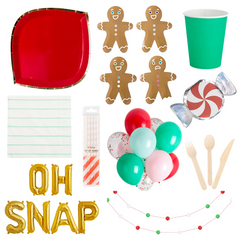 Oh Snap party in a box, holiday party supplies, gingerbread man party