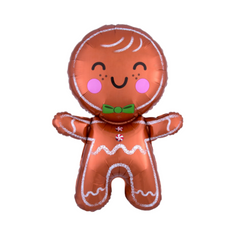 gingerbread man balloon, holiday party supplies, cookie decorating party