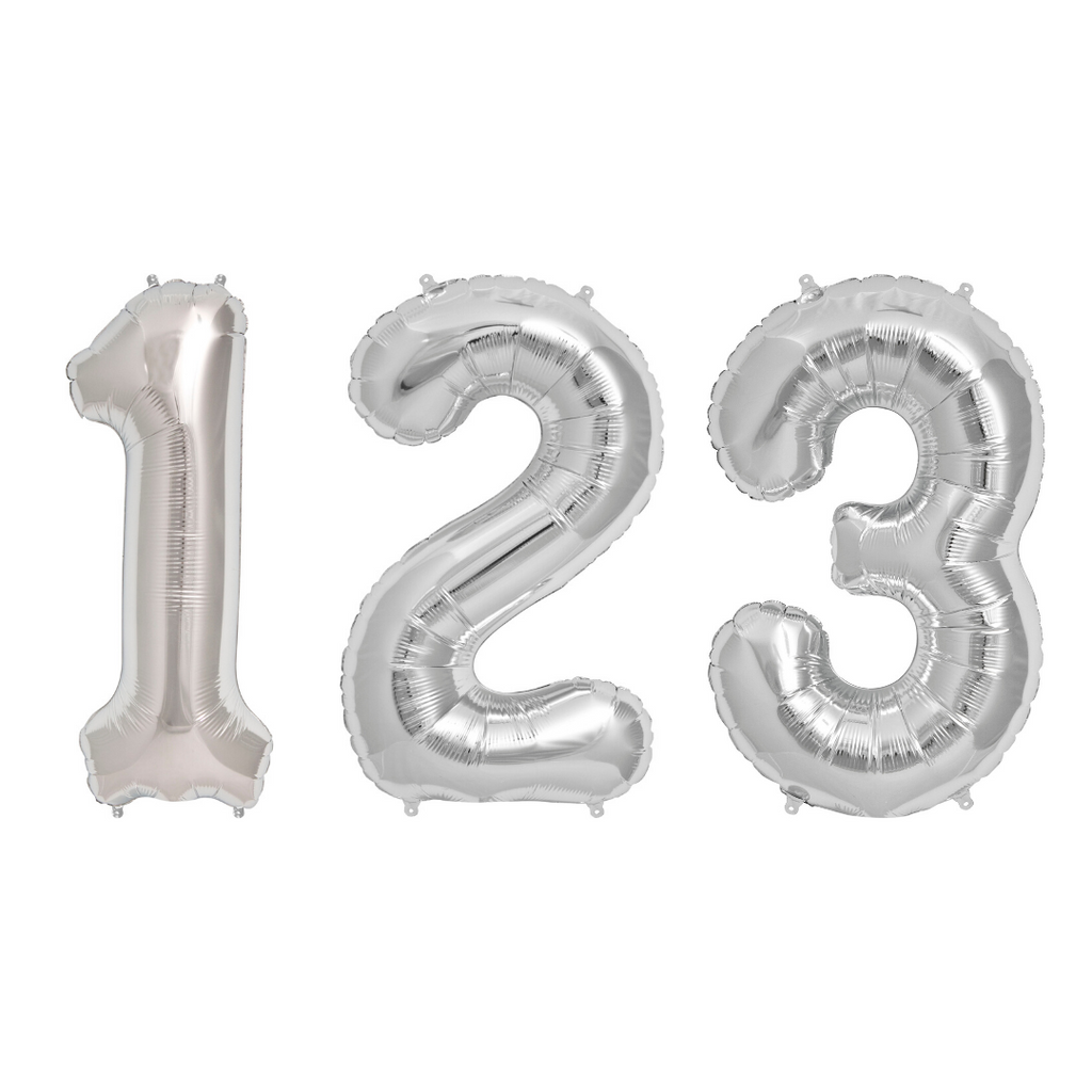 Silver Number Balloons 34""