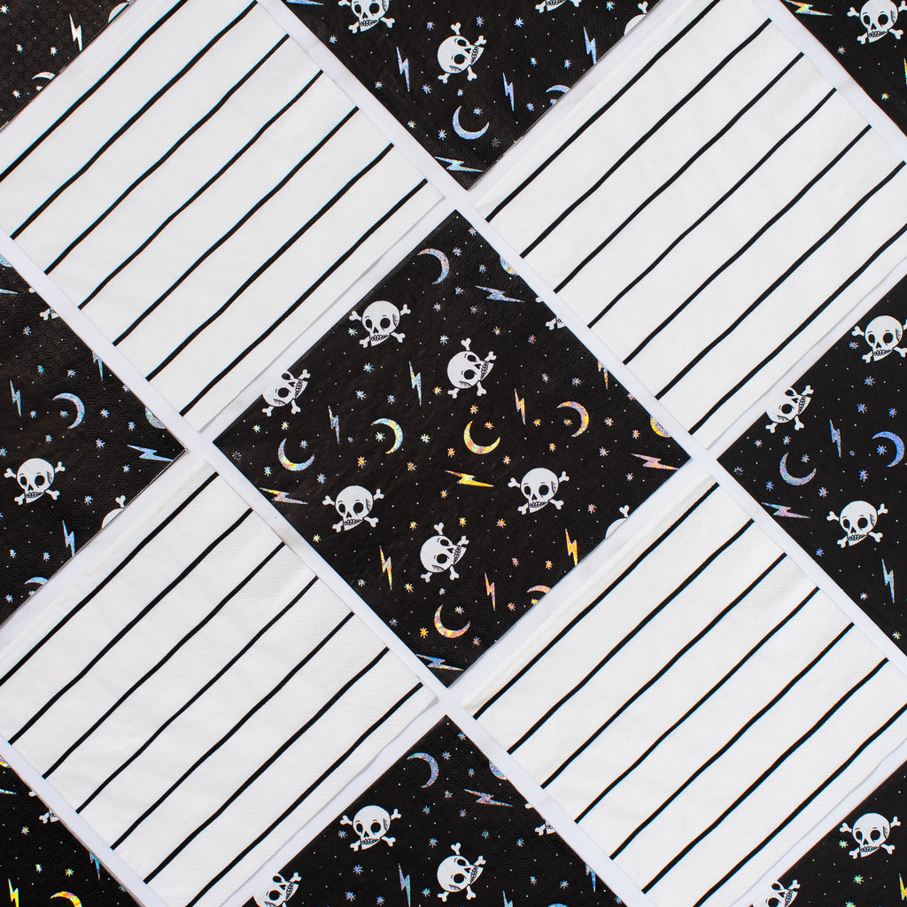 Frenchie Striped Napkins (Lg) - Black Ink