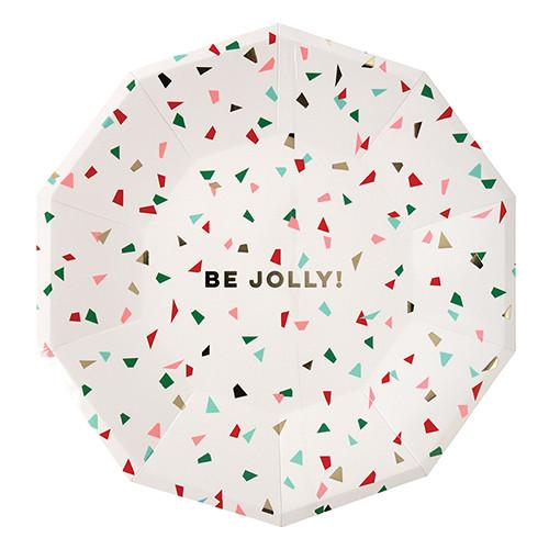 """Be Jolly"" Confetti Plates (Lg) Tabletop Meri Meri"