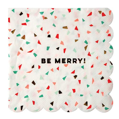 """Be Merry"" Confetti Napkins (Lg) Tabletop Meri Meri"