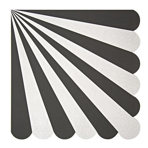 Black & White Striped Napkins (Lg) Tabletop Meri Meri