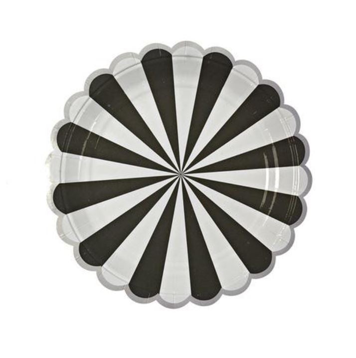 Black & White Striped Plates (Lg) Tabletop Meri Meri